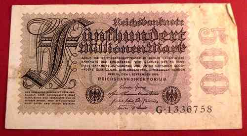 Reichsbanknote 500.000.000 Mark 1923