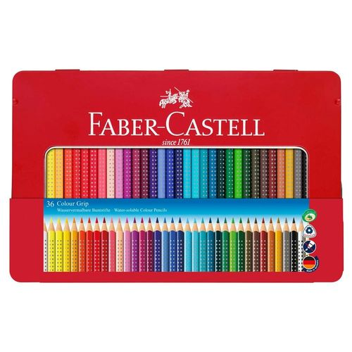 Buntstifte FABER-CASTELL Colour Grip 36er Metalletui